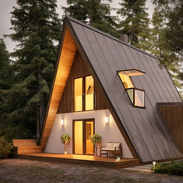 کلبه چوبی مثلثی مدرن